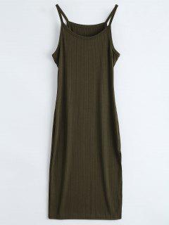 Vestido Ceñido Acanalado De Chaleco Con Abertura - Verde Del Ejército L