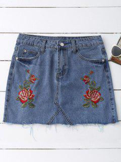 Rose Embroidered Denim Skirt - Denim Blue M