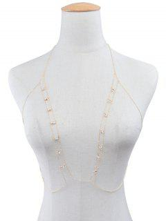 Rhinestoned Body Bra Chain - Golden