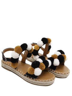 Flat Heel Stitching Pompon Sandals - Black 38