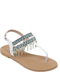 Fringe Geometric Pattern Beading Sandals - White 39