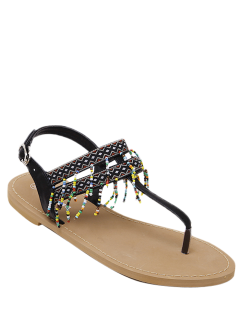 Fringe Geometric Pattern Beading Sandals - Black 38