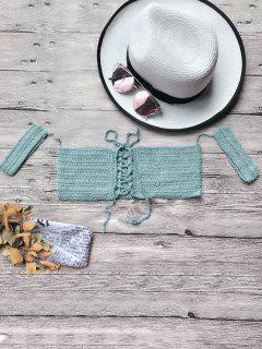 Off The Shoulder Crochet Bikini Crop Top - Blue Green