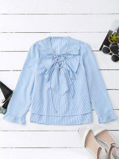 Lace Up Ruffle Poplin Blouse - Blue And White L