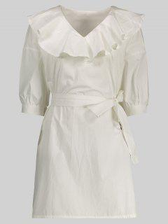 Ruffle Neck Tunic Pullover Shirt With Belt - White