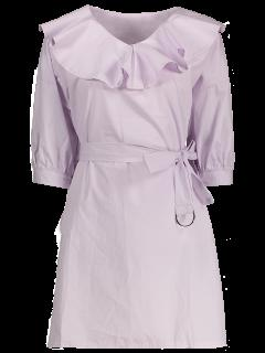 Ruffle Neck Tunic Pullover Shirt With Belt - Light Purple