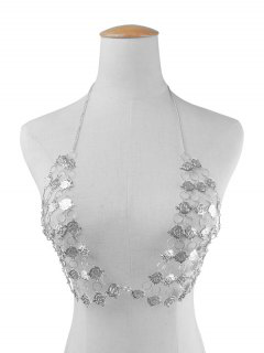 Triangle Rose Flower Bra Body Chain - Silver