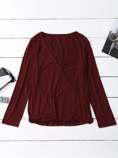 Long Sleeve Crossover Layering Top - Burgundy S