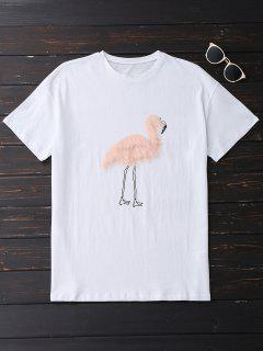 Faux Fur Bird Oversized Tee - White M