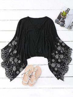 Kimono Wide Sleeve Embroidered Blouse - Black S