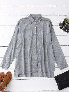 Stars Print Oversized Pocket Shirt - Gray S