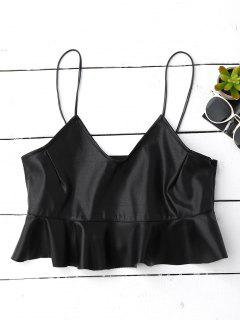 Ruffle Faux Leather Cami Top - Black S