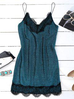 Eyelash Lace Glitter Slip Dress - Peacock Blue L