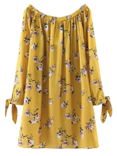Floral Off Shoulder Shift Dress - Yellow M
