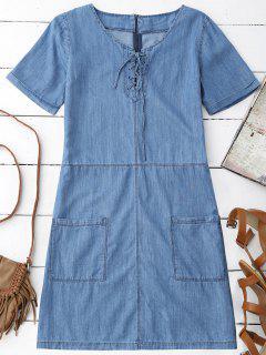 Pockets Mini Chambray Dress - Blue L