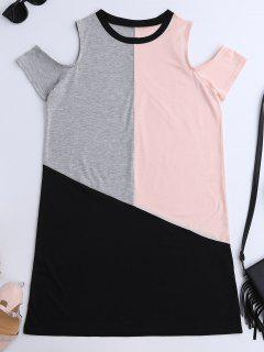 Color Block Cold Shoulder T-Shirt Dress - Xl
