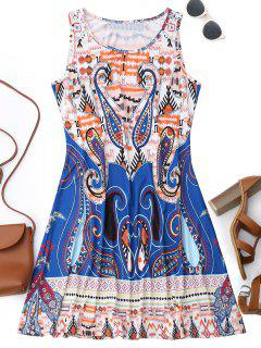 Sleeveless Graphic Print Flowy Dress - L