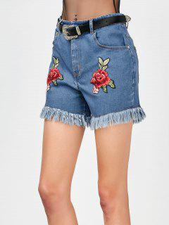 Cutoffs Floral Embroidered Denim Shorts - Denim Blue M
