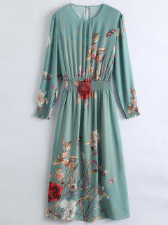 See-Through Floral Maxi Dress With Cami Dress - Pea Green S
