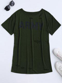 Army Cut Out T-Shirt Dress - Army Green Xl