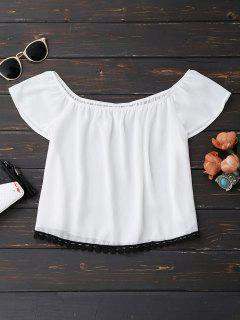 Off Shoulder Chiffon Cropped Top - White Xl