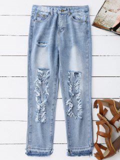 Destroyed Cropped Jeans - Light Blue S