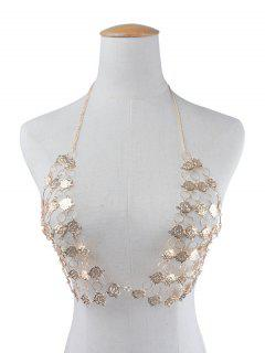 Triangle Rose Flower Bra Body Chain - Golden
