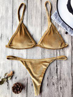 Cami Velvet String Thong Bikini Set - Gold Brown M