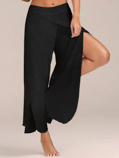 High Slit Flowy Layered Palazzo Pants - Black S