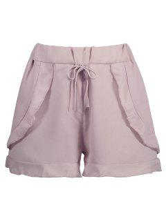 Elastic Waist Ruffled Chiffon Shorts - Pink M