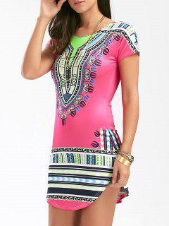 Short African Print Bodycon Dress - Tutti Frutti M