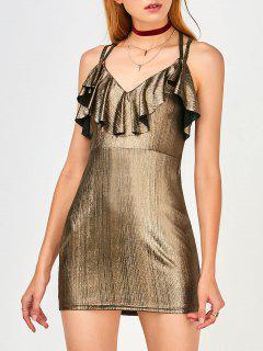 Ruffles Strappy Club Dress - Golden L