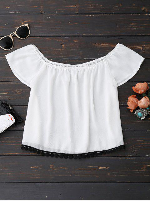 online Off Shoulder Chiffon Cropped Top - WHITE XL Mobile