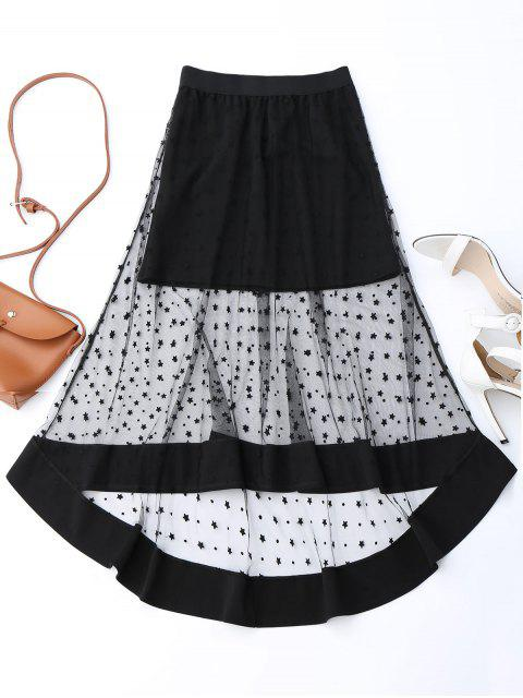 fancy High Low Star Mesh Skirt - BLACK ONE SIZE Mobile