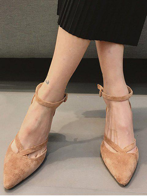 womens Pointed Toe Block Heel Cross Strap Pumps - APRICOT 38 Mobile