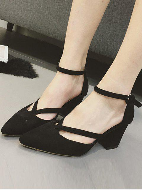 ladies Pointed Toe Block Heel Cross Strap Pumps - BLACK 37 Mobile