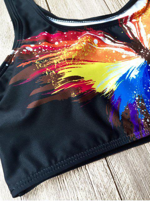 Ensemble de bikini imprimé argyle de papillon à taille haute - Noir S Mobile