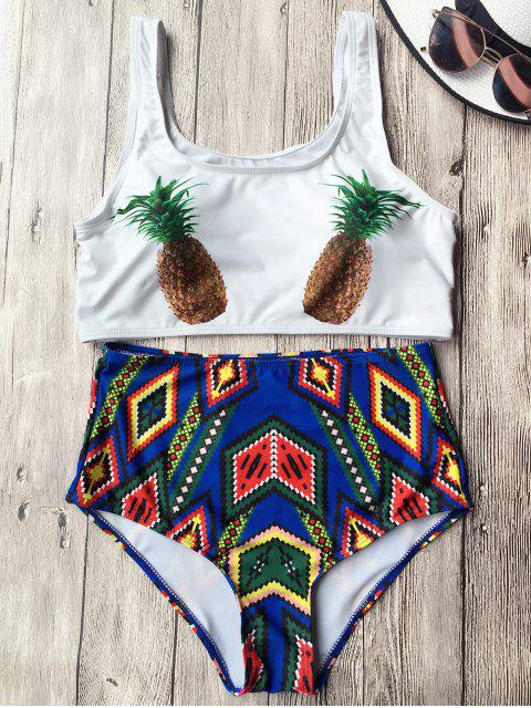 outfit High Waist Argyle Pineapple Bathing Suit - WHITE XL Mobile