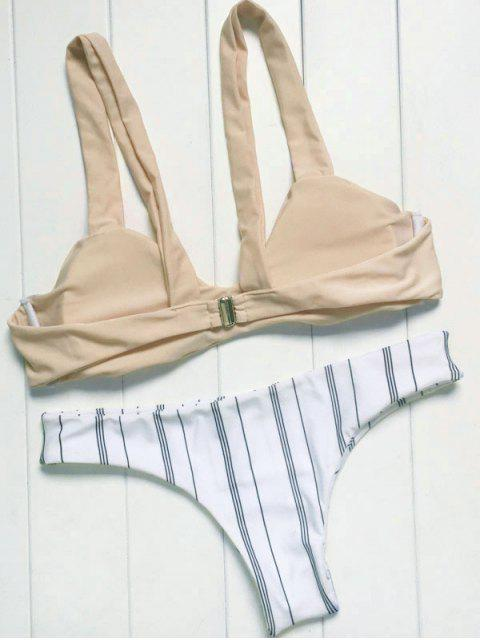 women Spaghetti Straps Striped Bikini Set - COLORMIX L Mobile