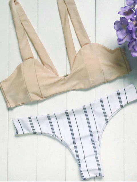 ladies Spaghetti Straps Striped Bikini Set - COLORMIX S Mobile