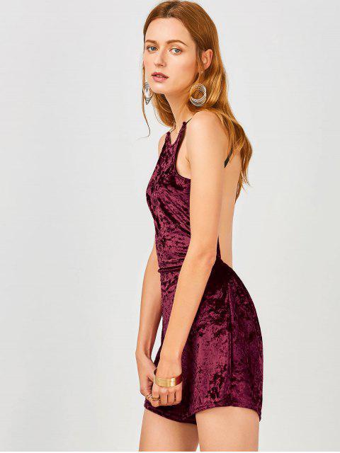 womens Cami Open Back Velvet Romper - WINE RED XL Mobile