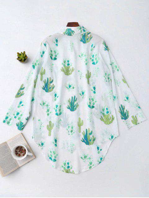 best High Low Cactus Print Shirt Loungewear - WHITE XL Mobile