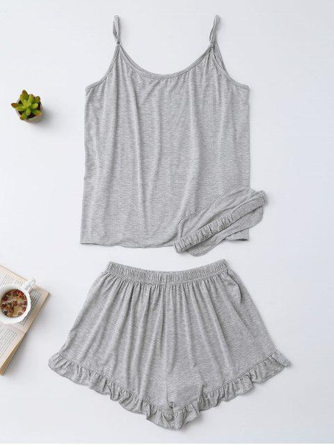 chic Heart Pattern Cami Top with Ruffles Shorts - GRAY S Mobile
