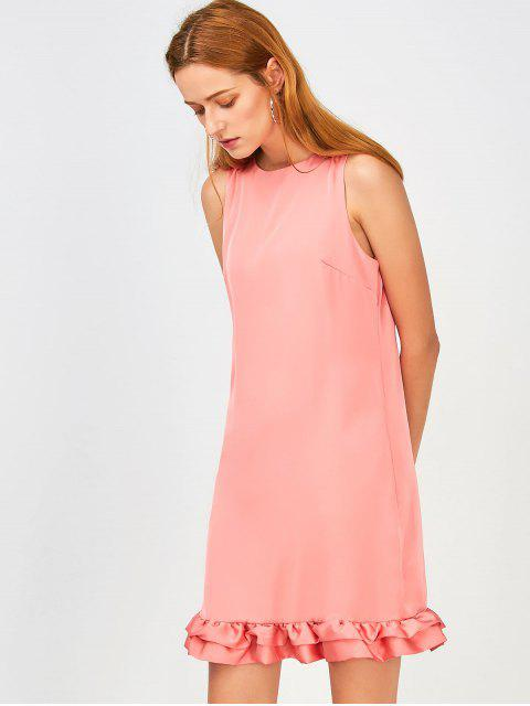 lady Back Zippered Ruffles Casual Dress - PINK M Mobile