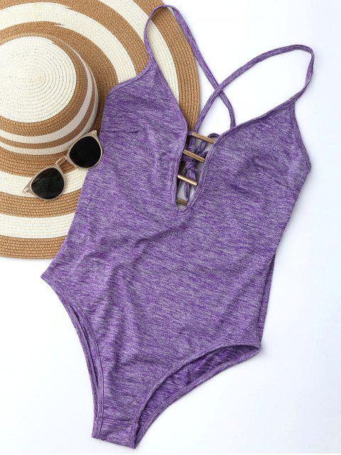 shop Lace Up Plunge Neck Monokini - PURPLE M Mobile
