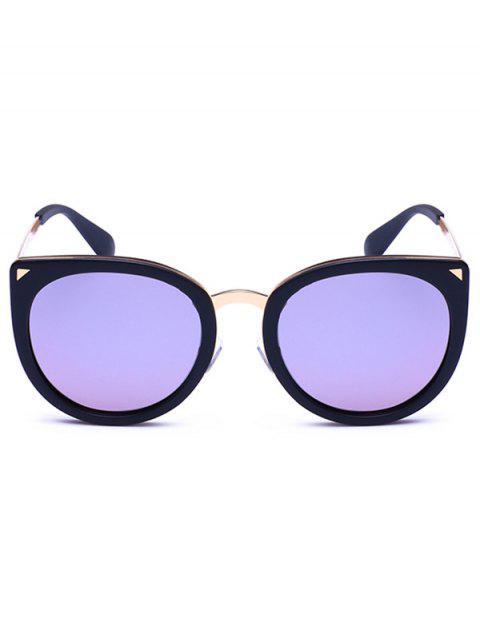 online Alloy Leg Spliced Cat Eye Mirrored Sunglasses - BLACK FRAME + PURPLE LENS  Mobile