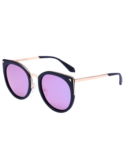 Lunettes de soleil miroir à oeil à chat en alliage - Noir Cadre + Objectifs Violet  Mobile