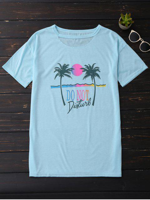 outfits Palm Tree Print Graphic Cut Out Tee - SKY BLUE S Mobile