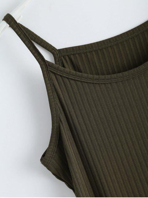 Robe débardeur moulante côtelée avec fente - Vert Armée S Mobile