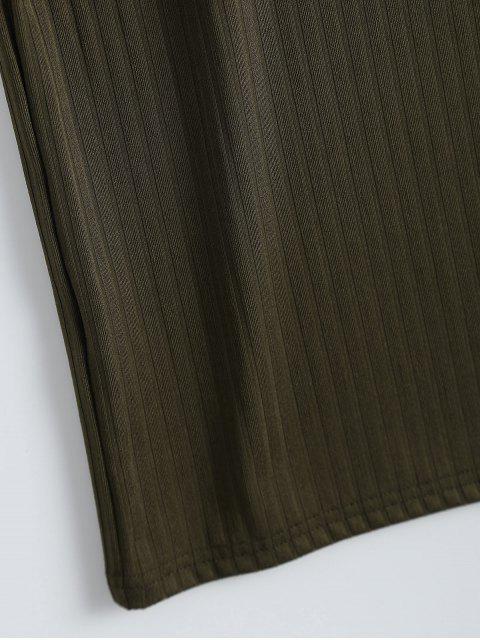 Robe débardeur moulante côtelée avec fente - Vert Armée L Mobile
